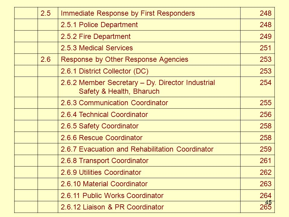 2.5 Immediate Response by First Responders. 248. 2.5.1 Police Department. 2.5.2 Fire Department.