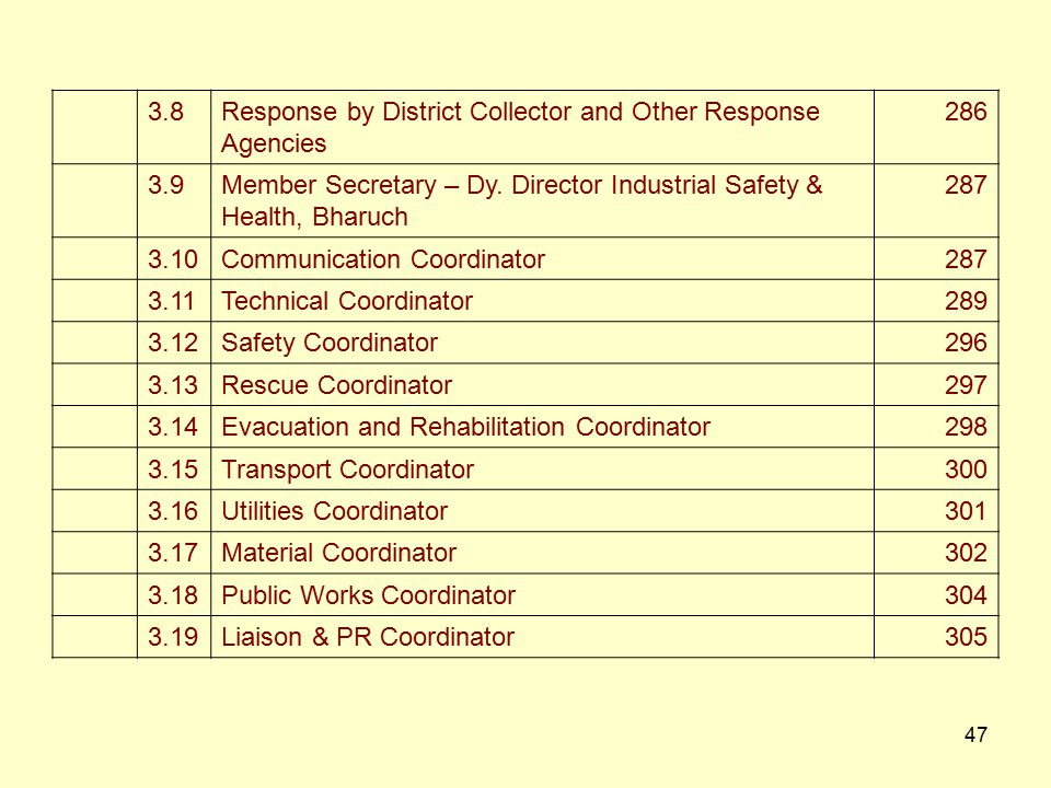 3.8 Response by District Collector and Other Response. Agencies. 286. 3.9. Member Secretary – Dy. Director Industrial Safety &