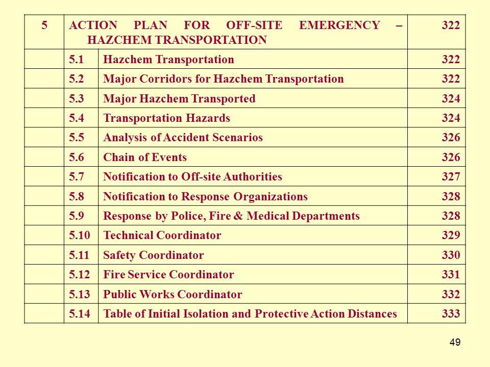 5 ACTION PLAN FOR OFF-SITE EMERGENCY – HAZCHEM TRANSPORTATION. 322. 5.1. Hazchem Transportation.