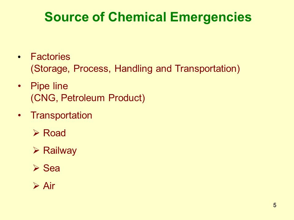 Source of Chemical Emergencies