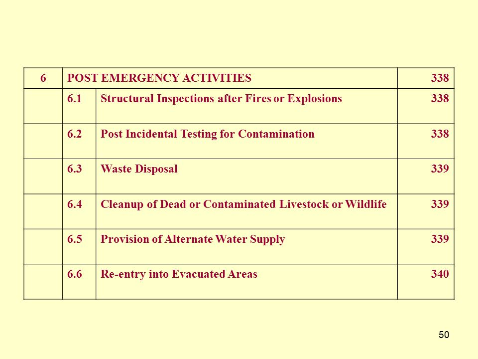 6 POST EMERGENCY ACTIVITIES. 338. 6.1. Structural Inspections after Fires or Explosions. 6.2. Post Incidental Testing for Contamination.