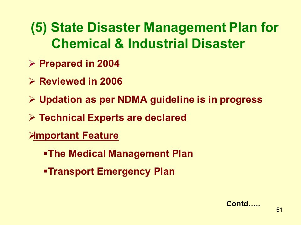 (5) State Disaster Management Plan for Chemical & Industrial Disaster
