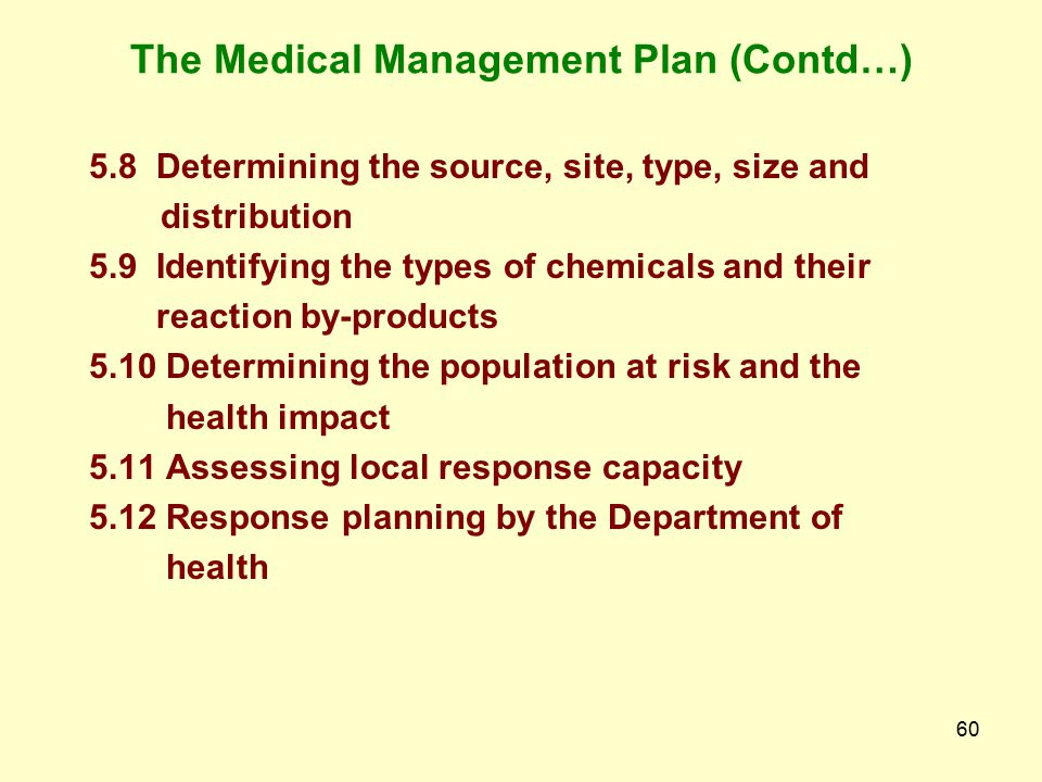 The Medical Management Plan (Contd…)
