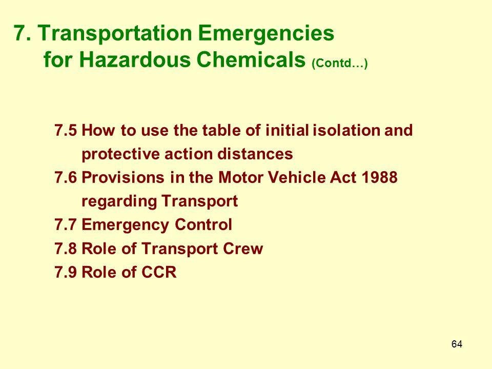7. Transportation Emergencies for Hazardous Chemicals (Contd…)