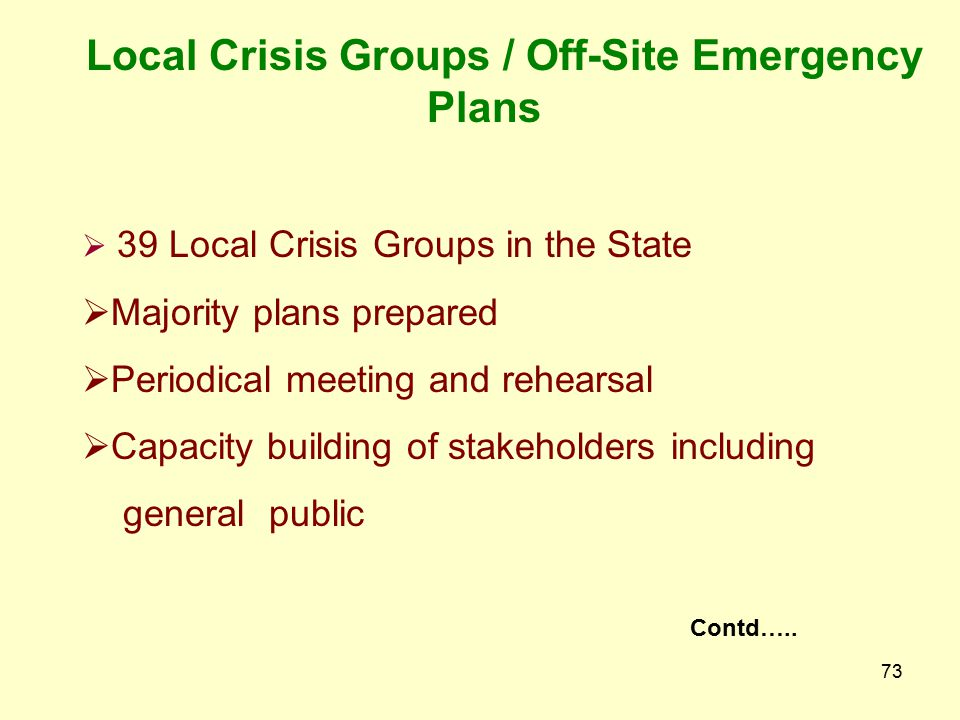 Local Crisis Groups / Off-Site Emergency Plans