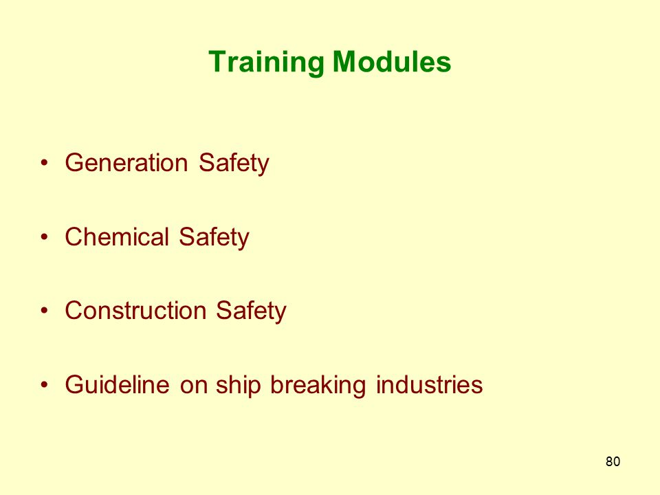 Training Modules Generation Safety Chemical Safety Construction Safety