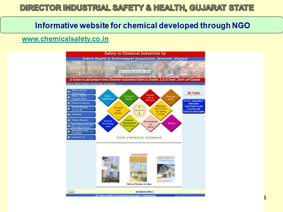 Informative website for chemical developed through NGO