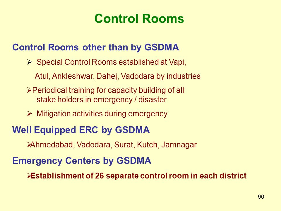 Control Rooms Control Rooms other than by GSDMA