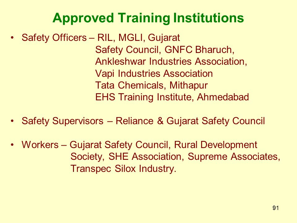 Approved Training Institutions