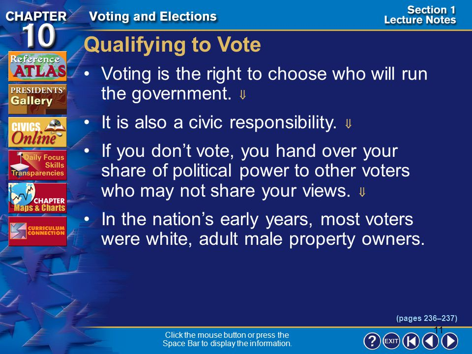 Qualifying to Vote Voting is the right to choose who will run the government.  It is also a civic responsibility. 