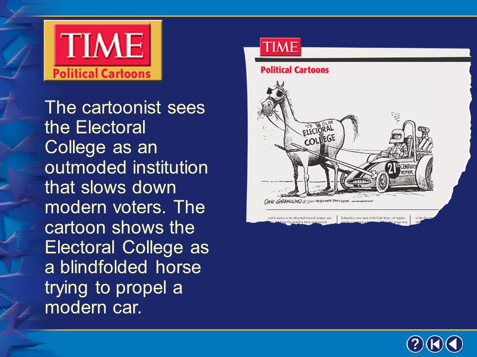 The cartoonist sees the Electoral College as an outmoded institution that slows down modern voters. The cartoon shows the Electoral College as a blindfolded horse trying to propel a modern car.