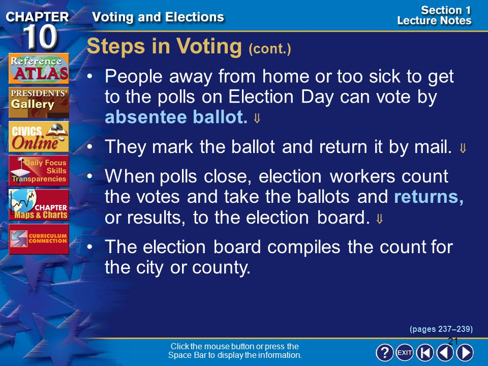 Steps in Voting (cont.) People away from home or too sick to get to the polls on Election Day can vote by absentee ballot. 