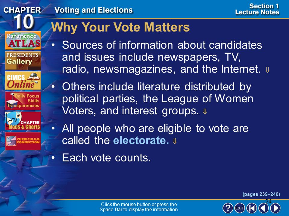 Why Your Vote Matters Sources of information about candidates and issues include newspapers, TV, radio, newsmagazines, and the Internet. 
