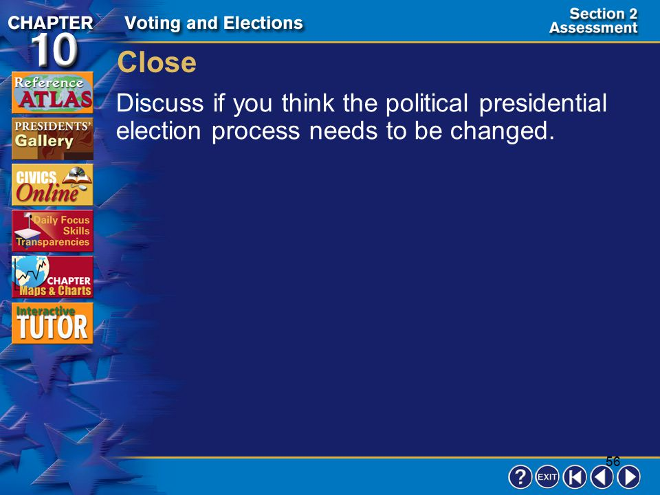 Close Discuss if you think the political presidential election process needs to be changed.