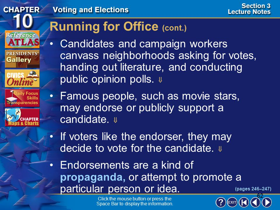 Running for Office (cont.)