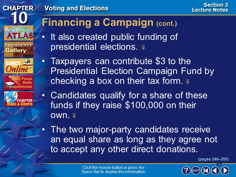 Financing a Campaign (cont.)