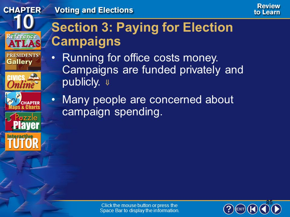 Section 3: Paying for Election Campaigns