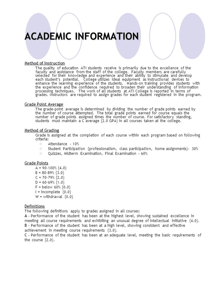 ACADEMIC INFORMATION Method of Instruction
