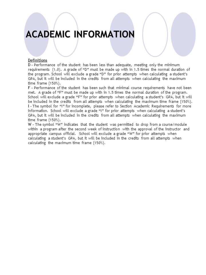 ACADEMIC INFORMATION Definitions