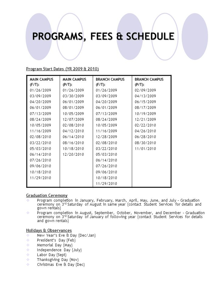 PROGRAMS, FEES & SCHEDULE