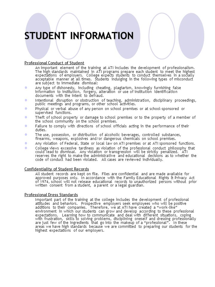 STUDENT INFORMATION Professional Conduct of Student