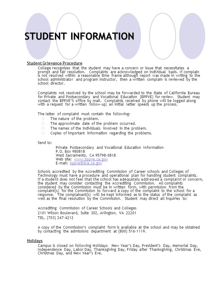 STUDENT INFORMATION Student Grievance Procedure