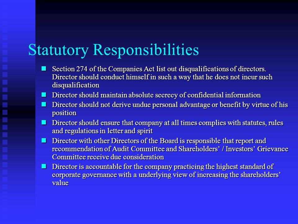 Statutory Responsibilities