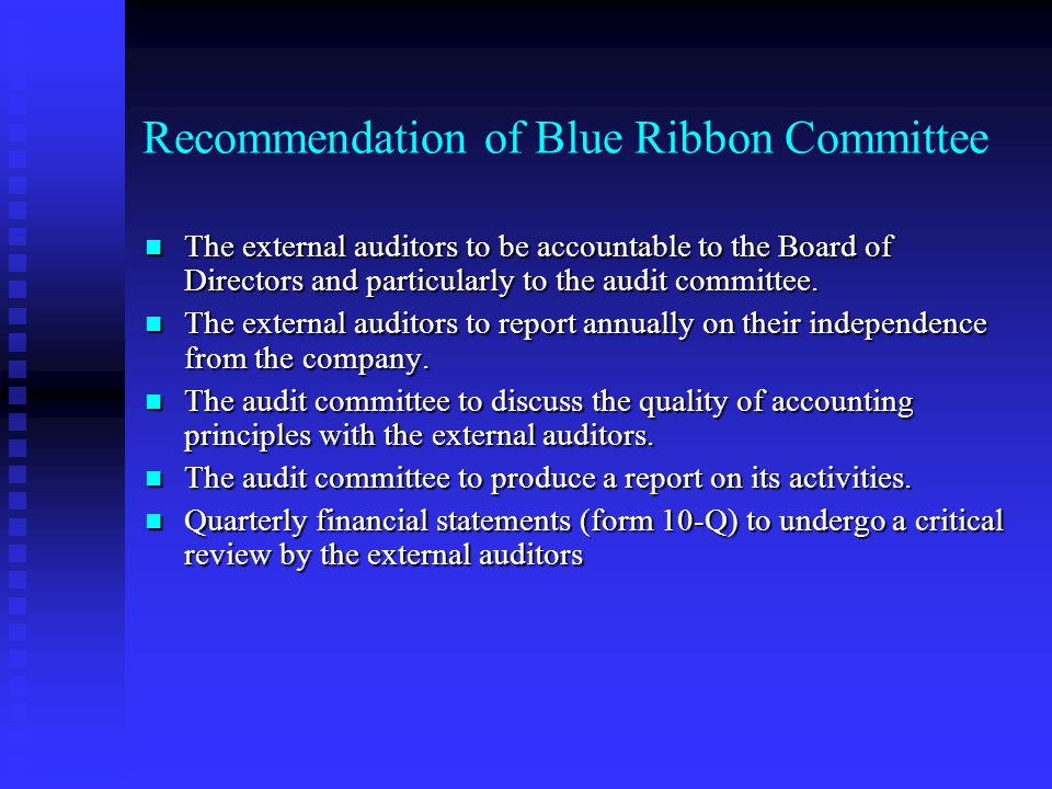 Recommendation of Blue Ribbon Committee