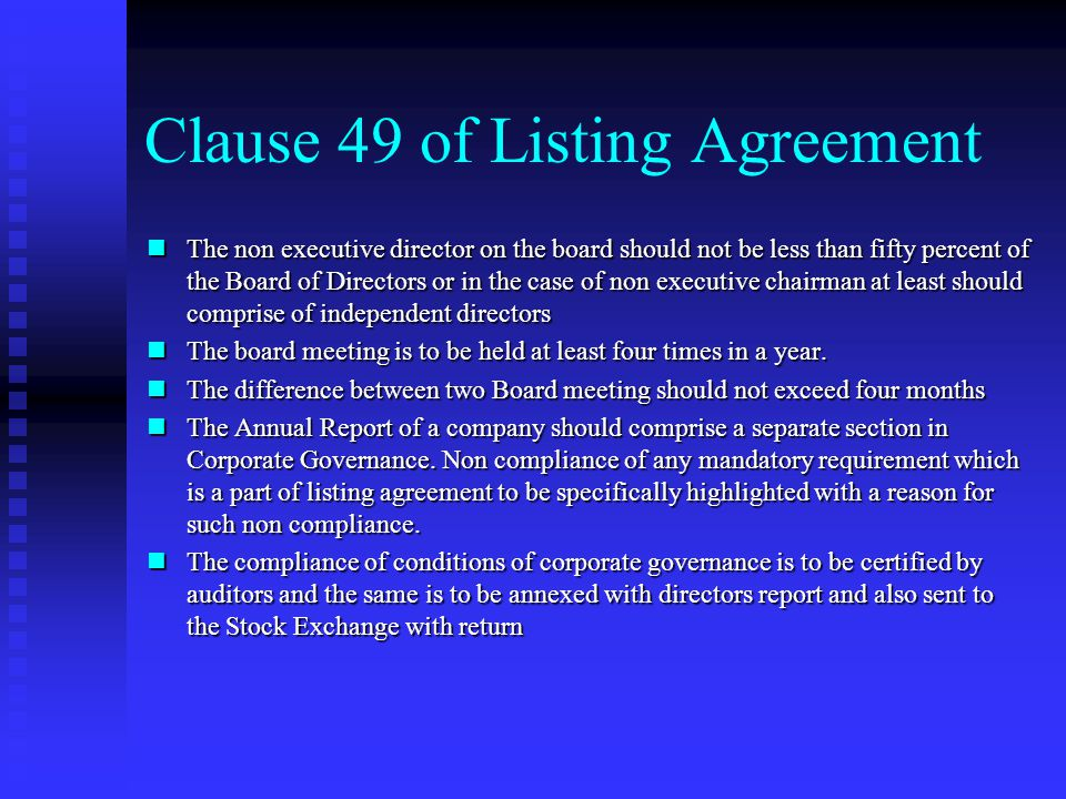 Clause 49 of Listing Agreement