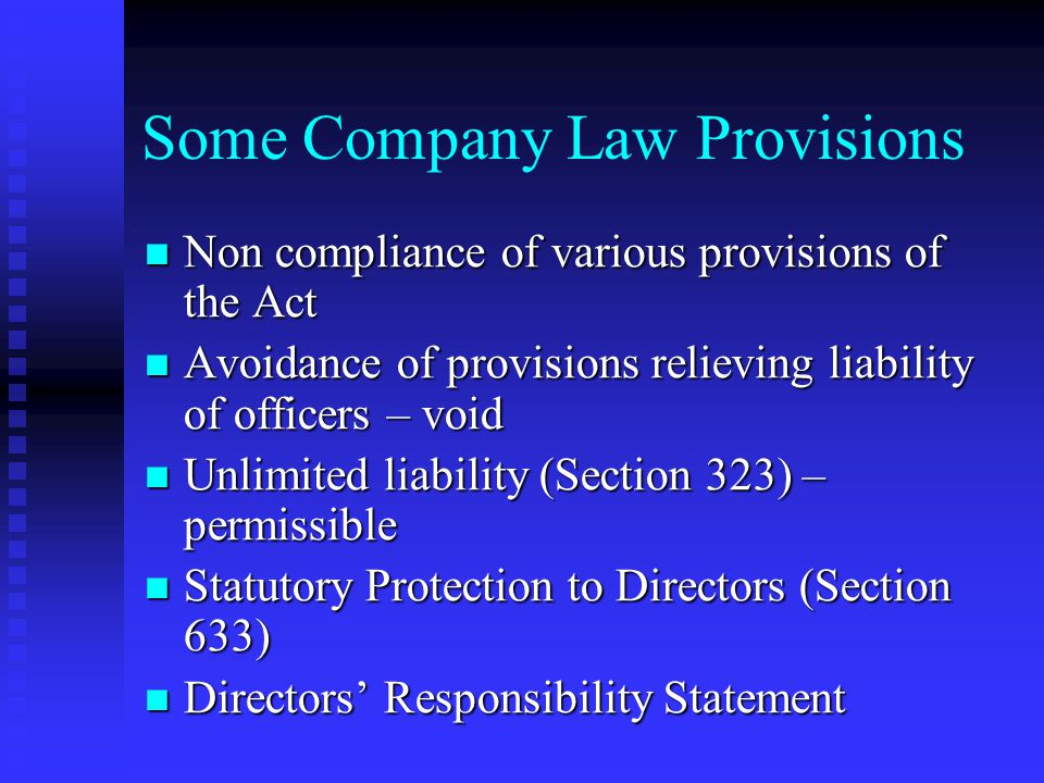 Some Company Law Provisions