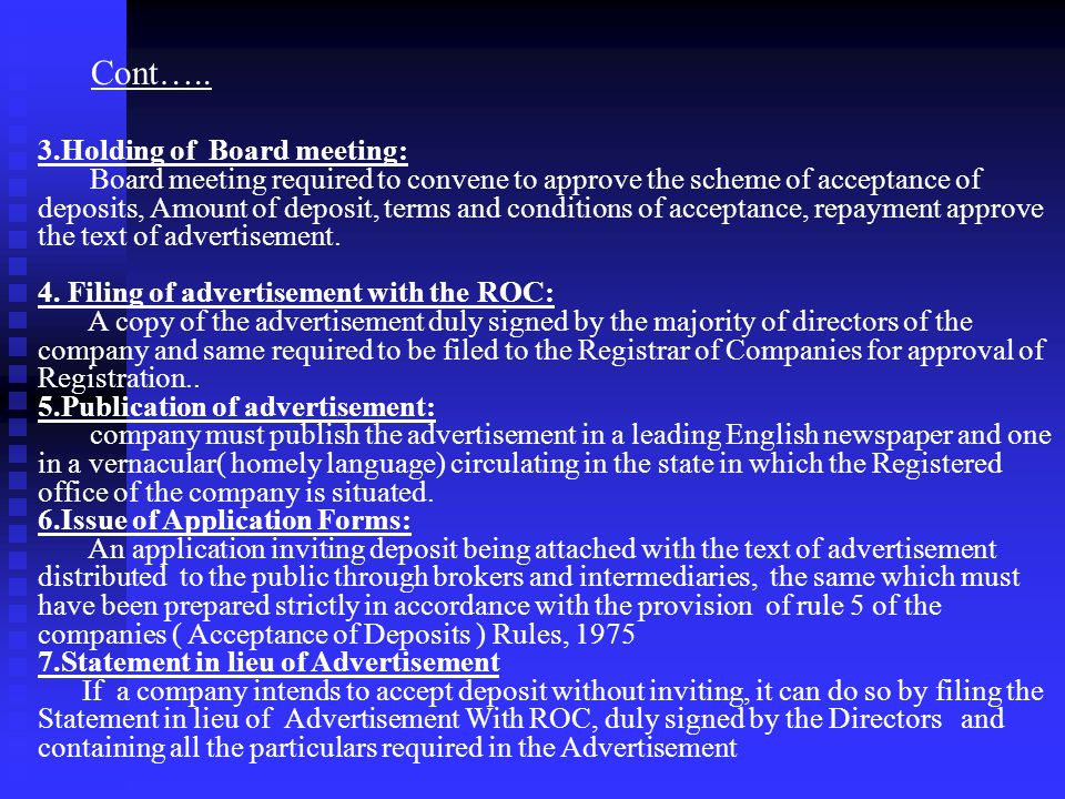 Cont….. 3.Holding of Board meeting: