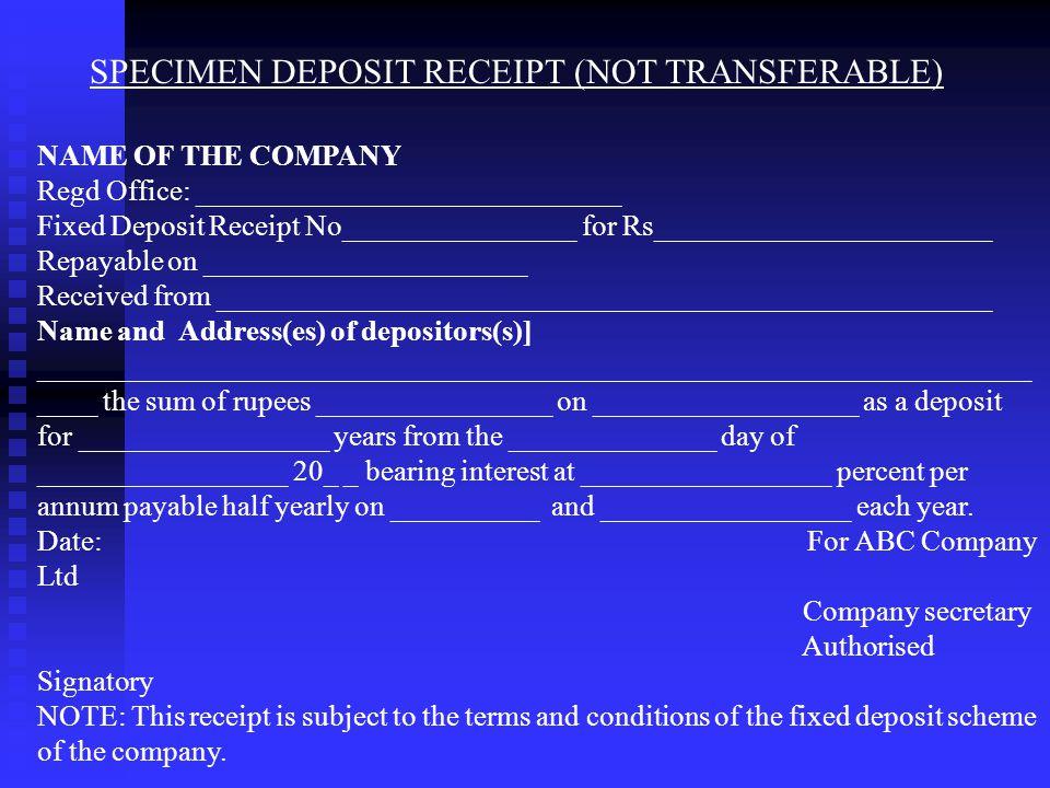 SPECIMEN DEPOSIT RECEIPT (NOT TRANSFERABLE)