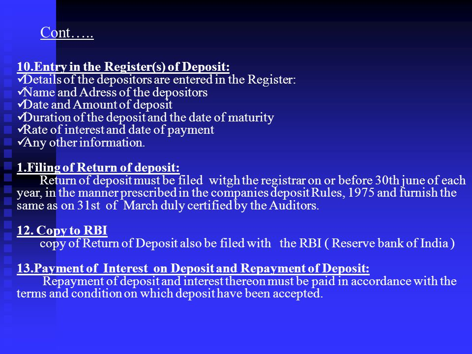 Cont….. 10.Entry in the Register(s) of Deposit: