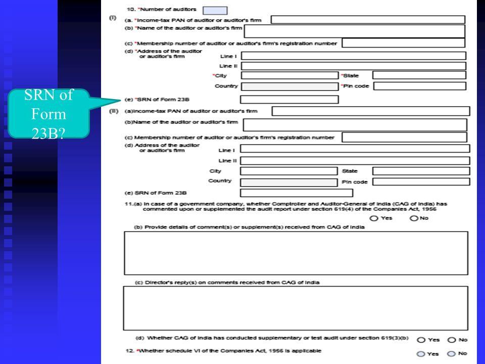 SRN of Form 23B