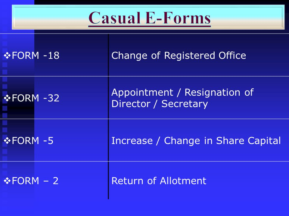Casual E-Forms FORM -18 Change of Registered Office FORM -32