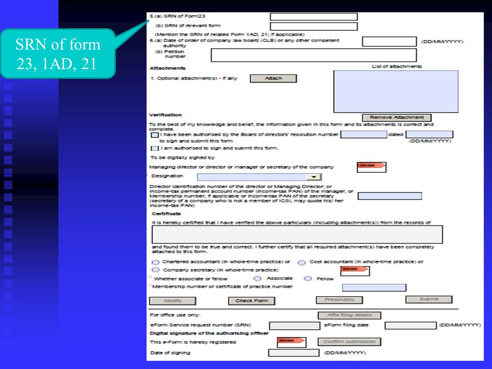 SRN of form 23, 1AD, 21