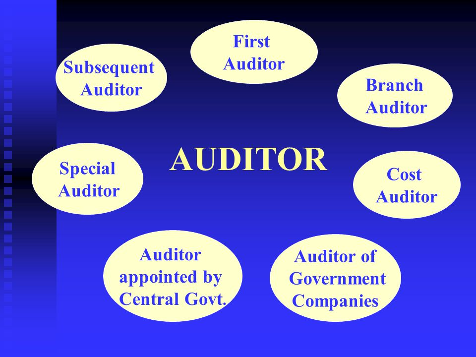 AUDITOR First Auditor Subsequent Auditor Branch Auditor Special Cost