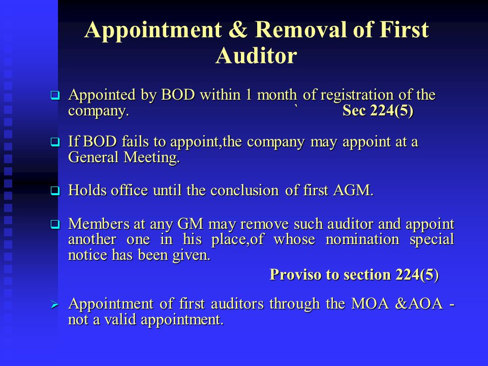 Appointment & Removal of First Auditor