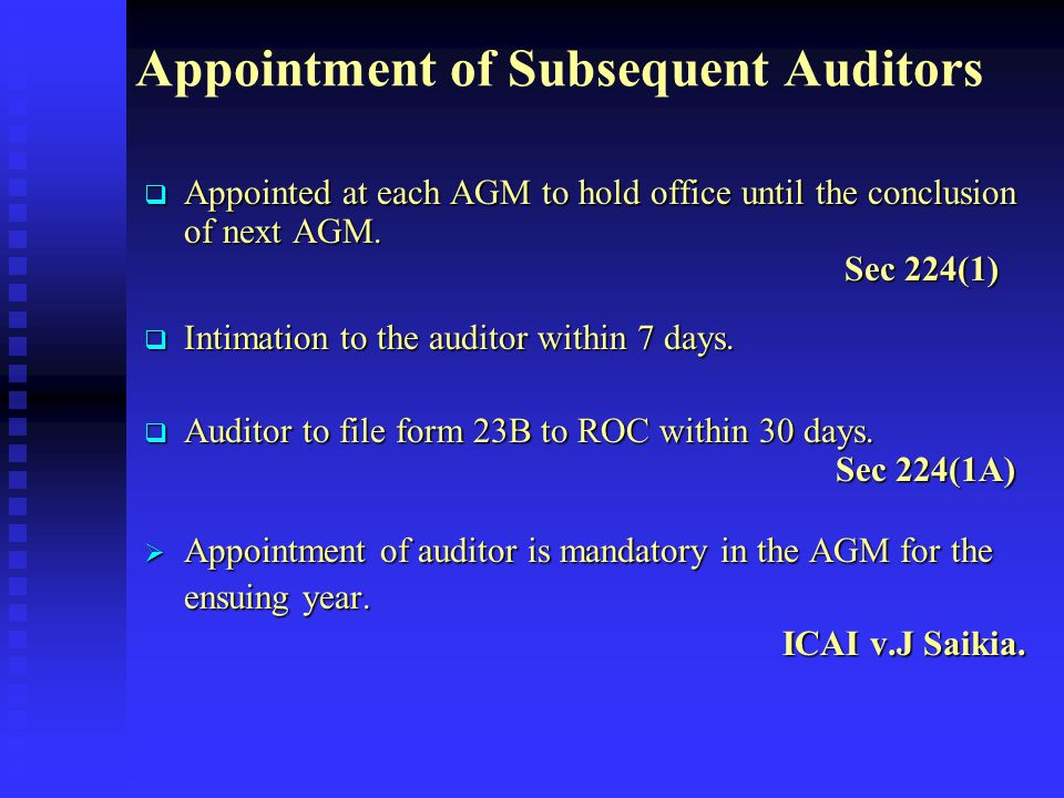 Appointment of Subsequent Auditors