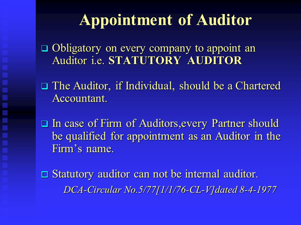 Appointment of Auditor
