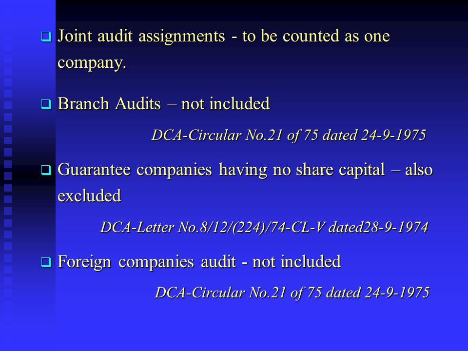 Joint audit assignments - to be counted as one company.