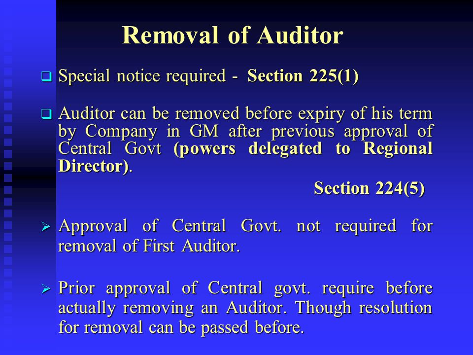 Removal of Auditor Special notice required - Section 225(1)