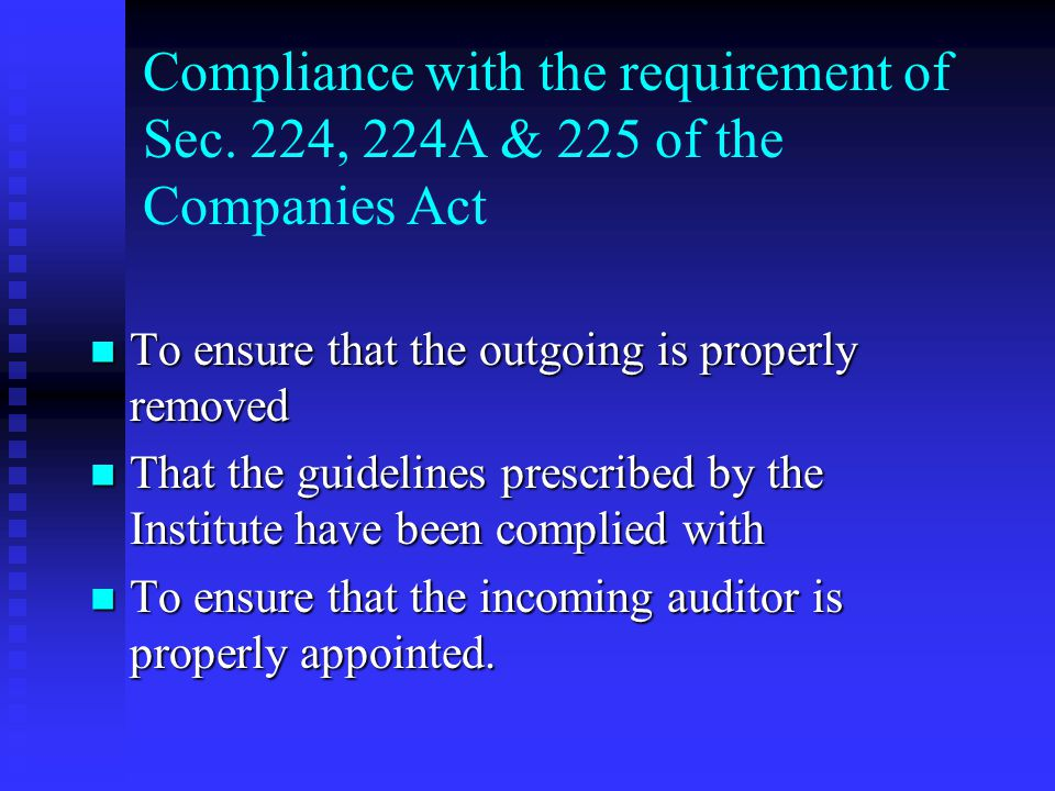 Compliance with the requirement of Sec