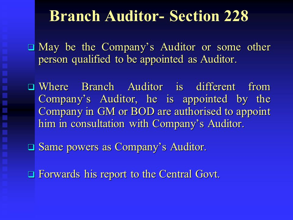 Branch Auditor- Section 228