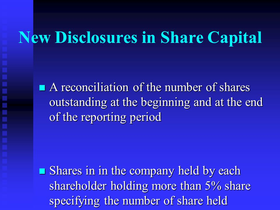New Disclosures in Share Capital
