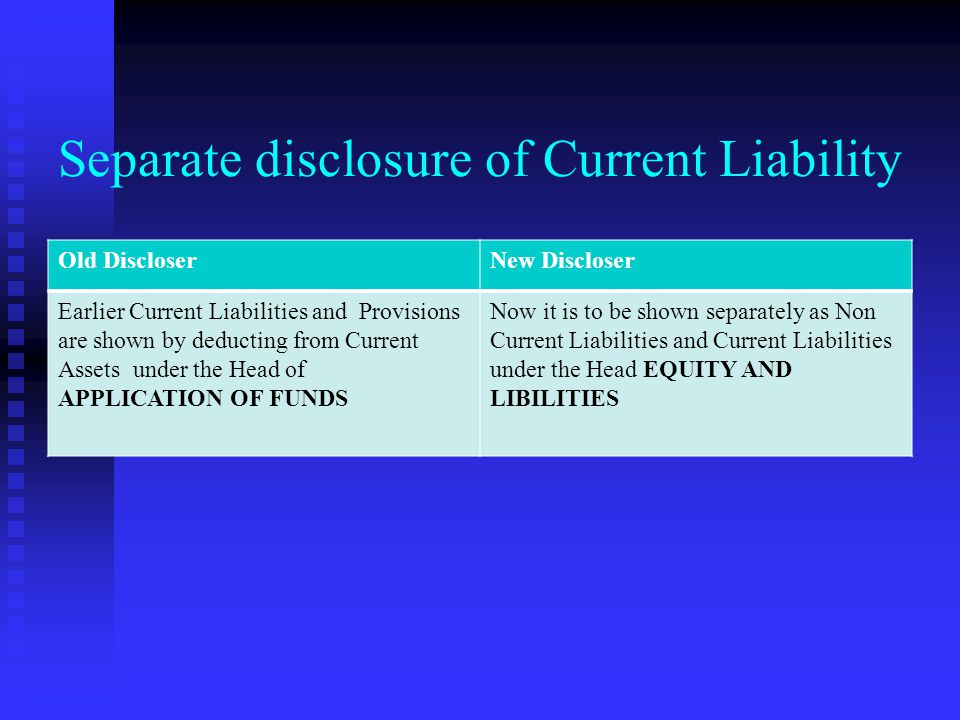 Separate disclosure of Current Liability