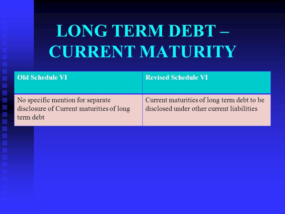 LONG TERM DEBT – CURRENT MATURITY