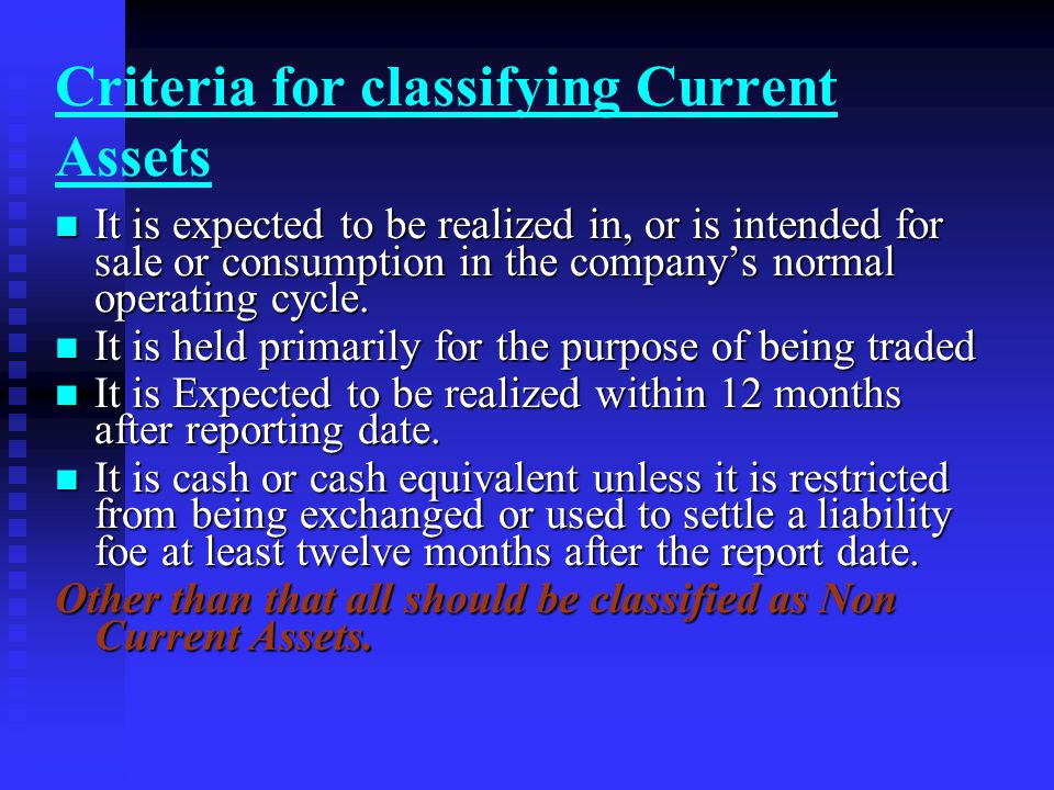 Criteria for classifying Current Assets