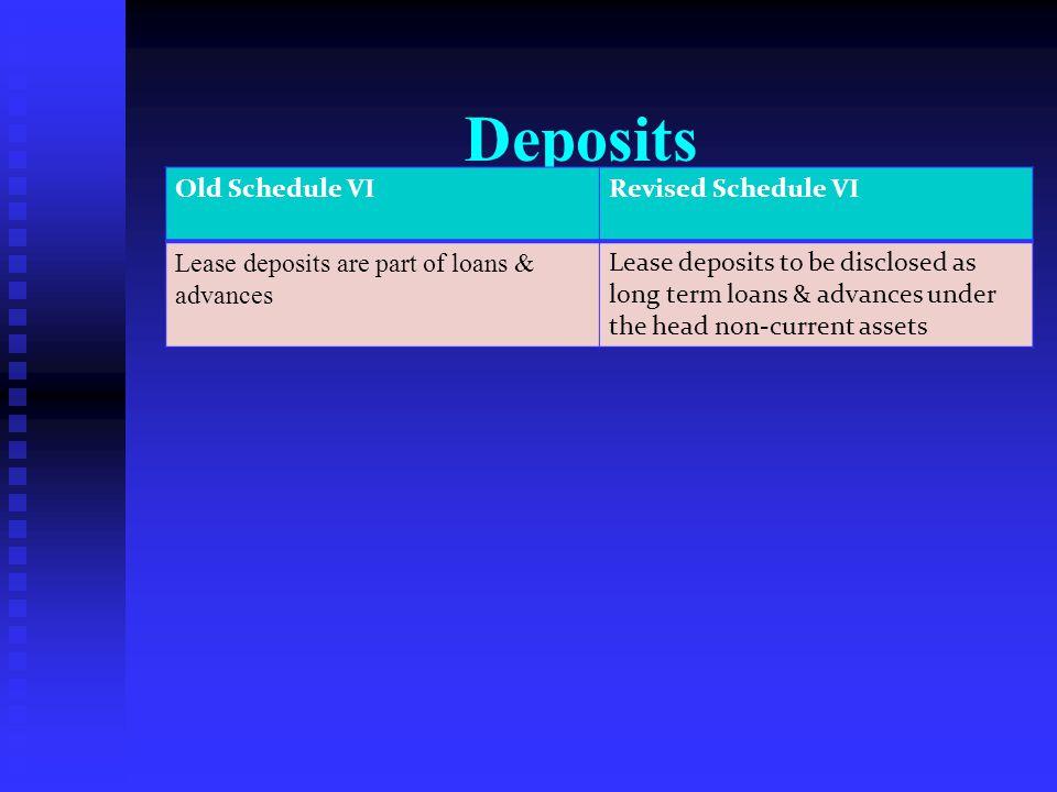 Deposits Old Schedule VI Revised Schedule VI