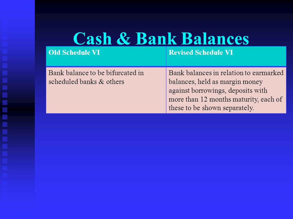 Cash & Bank Balances Old Schedule VI Revised Schedule VI